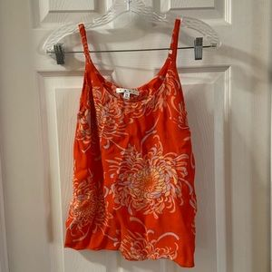 CAbi Orange Floral Print Scoop Neck Cami Tank XS